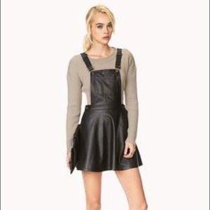 NWT Forever21 Faux Leather Overalls Skater Dress